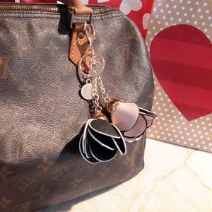 Camelia Bag Charm Key Chain Pink & Black